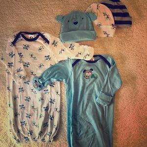Baby gowns w/ matching beanies